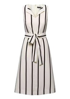 Stripe Square-Neck Fit-and-Flare Dress