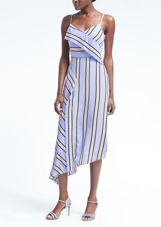 Stripe Strappy Asymmetrical Foldover Dress