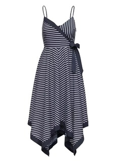 Banana Republic Stripe Strappy Handkerchief-Hem Dress