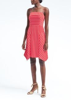 Stripe Strappy Handkerchief Hem Fit-and-Flare Dress