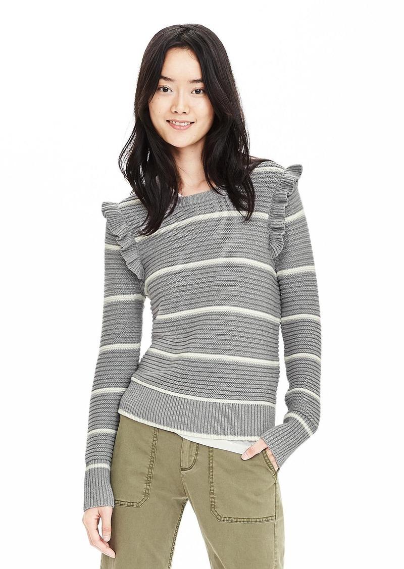 Banana Republic Striped Ruffle Pullover Sweater