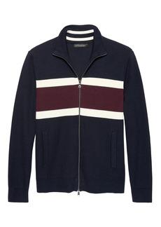 Banana Republic SUPIMA® Cotton Chest-Stripe Textured Full-Zip Sweater Jacket