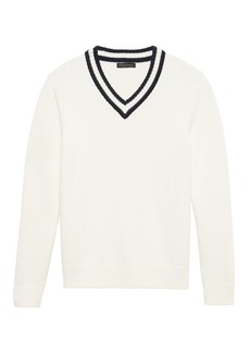 Banana Republic SUPIMA® Cotton Contrast V-Neck Sweater