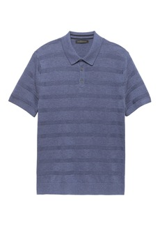 Banana Republic SUPIMA® Cotton Texture Stripe Sweater Polo