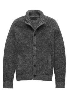 Banana Republic Textured Cotton Mock-Neck Cardigan Sweater