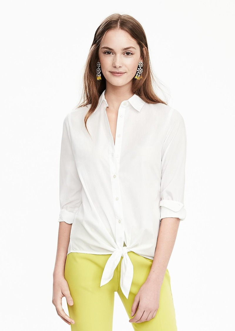 Banana Republic Tie-Front Cotton Shirt