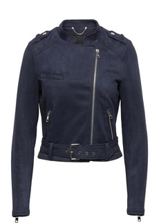 Vegan Stretch-Suede Moto Jacket