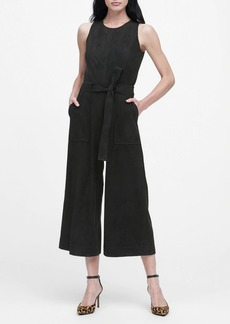 Banana Republic Vegan Suede Cropped Wide-Leg Jumpsuit