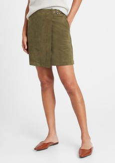 Banana Republic Vegan Suede Wrap Mini Skirt