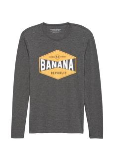 Banana Republic Vintage 100% Cotton Long-Sleeve Graphic T-Shirt
