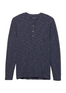 Banana Republic Waffle-Knit Cotton-Modal Henley T-Shirt