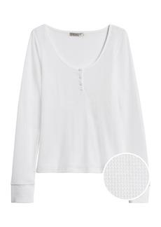 Banana Republic Waffle-Knit Henley T-Shirt