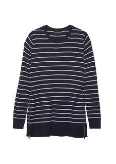 Banana Republic Washable Merino Wool Sweater Tunic with Zipper Accent