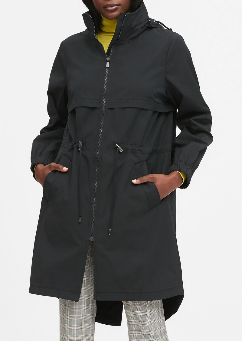 Banana Republic Water-Repellent Long Rain Jacket