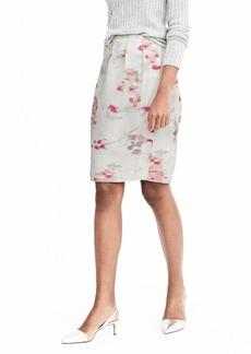 Banana Republic White Side Pleat Pencil Skirt