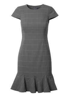 Windowpane Lightweight Wool Godet-Flounce Sheath Dress