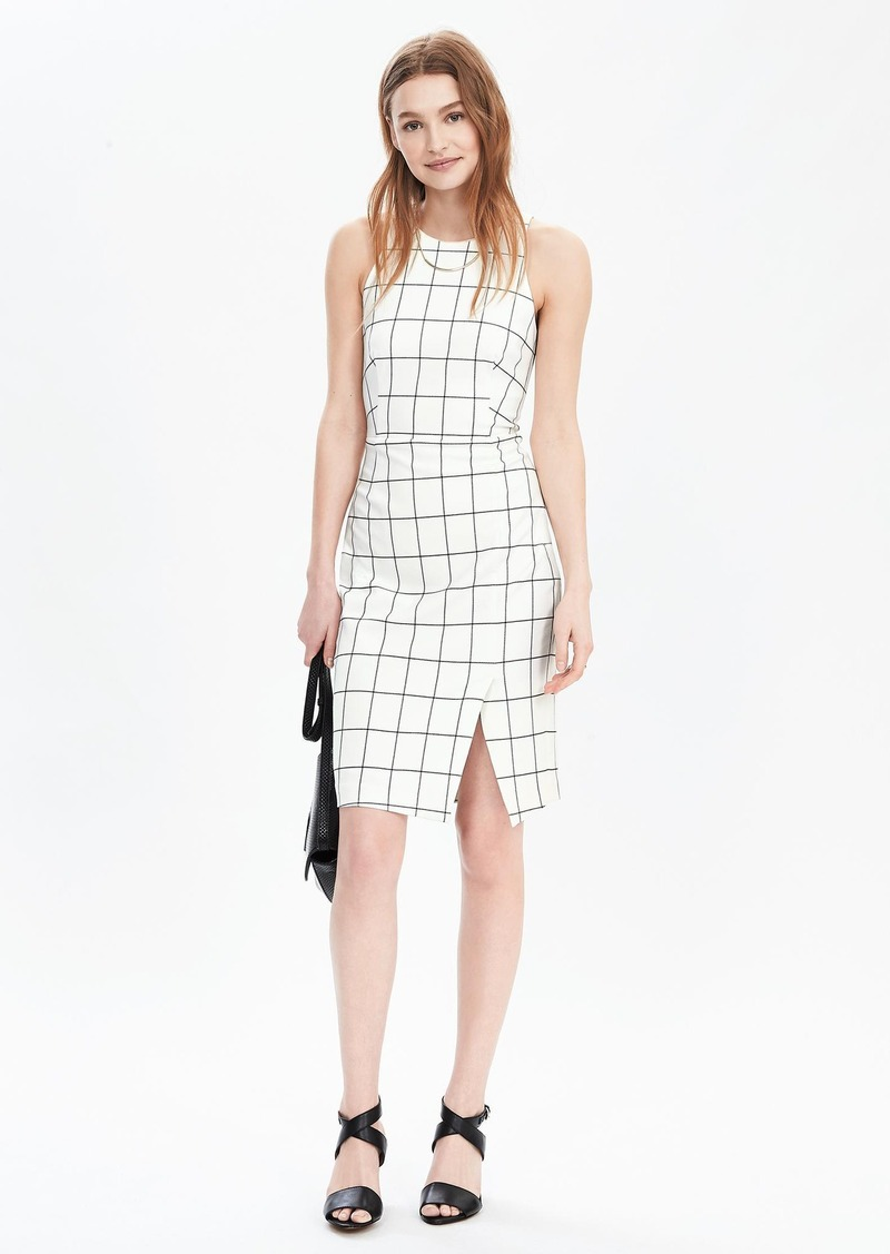 Banana Republic Windowpane Sleeveless Sheath Dress