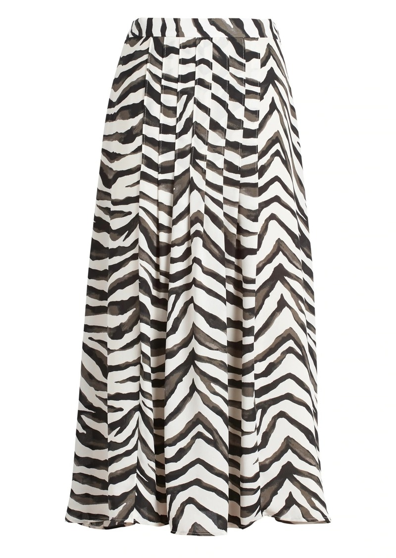 Banana Republic Zebra Pleated Midi Skirt