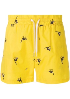 Band Of Outsiders angry cat track shorts - Yellow & Orange