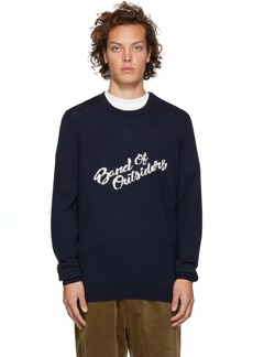 Band of Outsiders Navy Logo Merino Crewneck Sweater