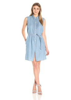 Bandolino Women's Clarice Denim Belted Sleeveless Dress  M