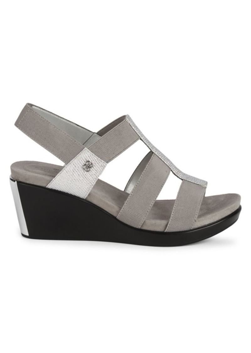 Bandolino Metallic Strap Wedge Sandals