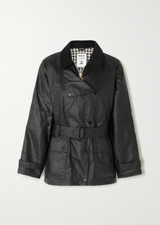 Barbour Alexachung Agatha Belted Corduroy-trimmed Waxed Cotton Jacket