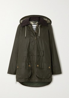 Barbour Alexachung Coco Oversized Hooded Corduroy-trimmed Waxed-cotton Poncho