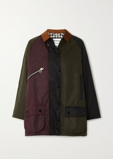 Barbour Alexachung Corduroy-trimmed Patchwork Waxed-cotton Jacket