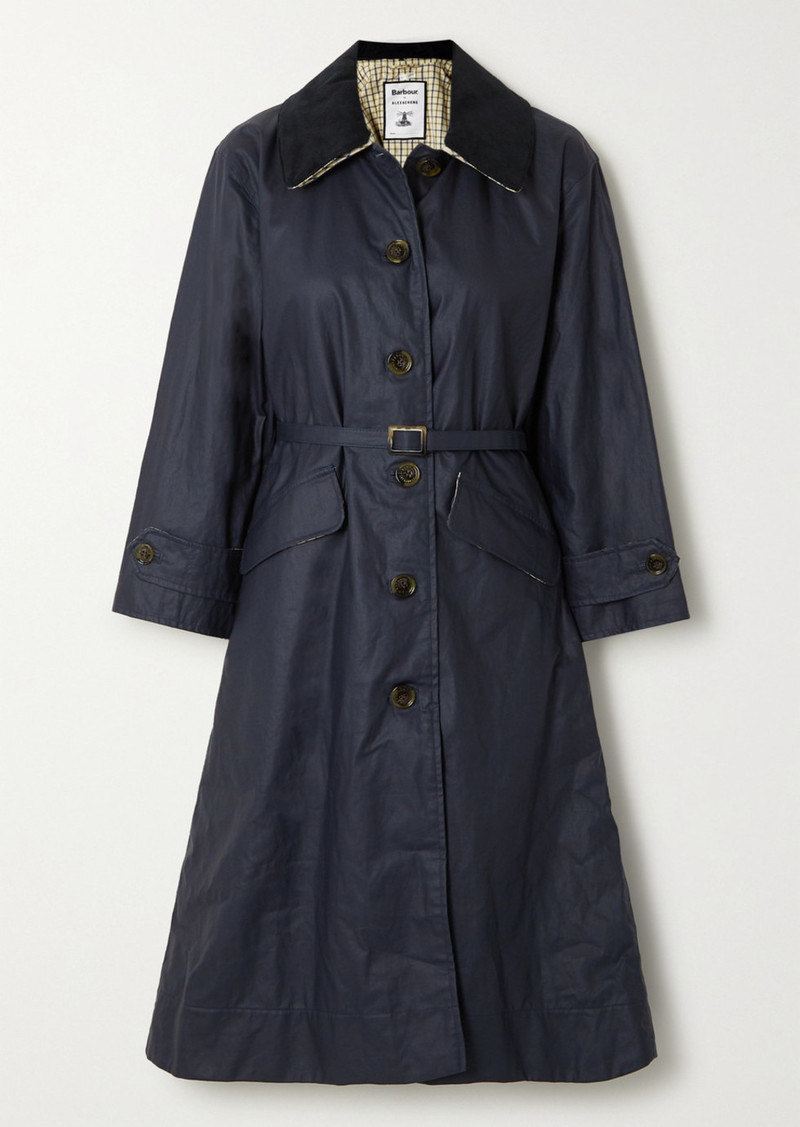 Barbour Alexachung Mildred Corduroy-trimmed Waxed Linen And Cotton-blend Trench Coat