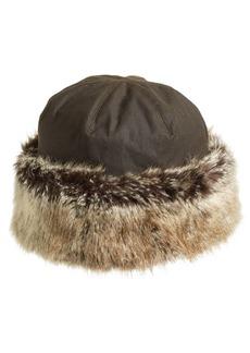 Barbour 'Ambush' Waxed Cotton Hat with Faux Fur Trim