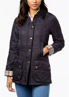 Barbour Beadnell Polarquilt Plaid-Trim Utility Coat