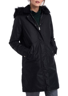 Barbour Beresford Faux Fur Trim Hooded Wax Coat