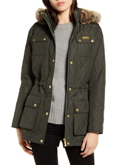 Barbour B.INTL Enduro Quilted Jacket with Faux Fur Trim