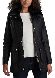 Barbour B.INTL Kirk Hooded Waxed Cotton Jacket with Faux Fur Trim