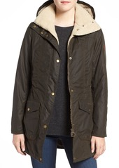 Barbour 'Bleaklow' Waxed Cotton Jacket with Faux Shearling Trim