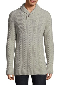Barbour Cable-Knit Wool Shawl Sweater