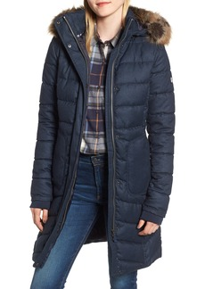 Barbour Foreland Quilt Mix Coat with Detachable Faux Fur Trim