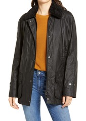 Barbour Goodwood Waxed Cotton Rain Jacket with Faux Shearling Trim