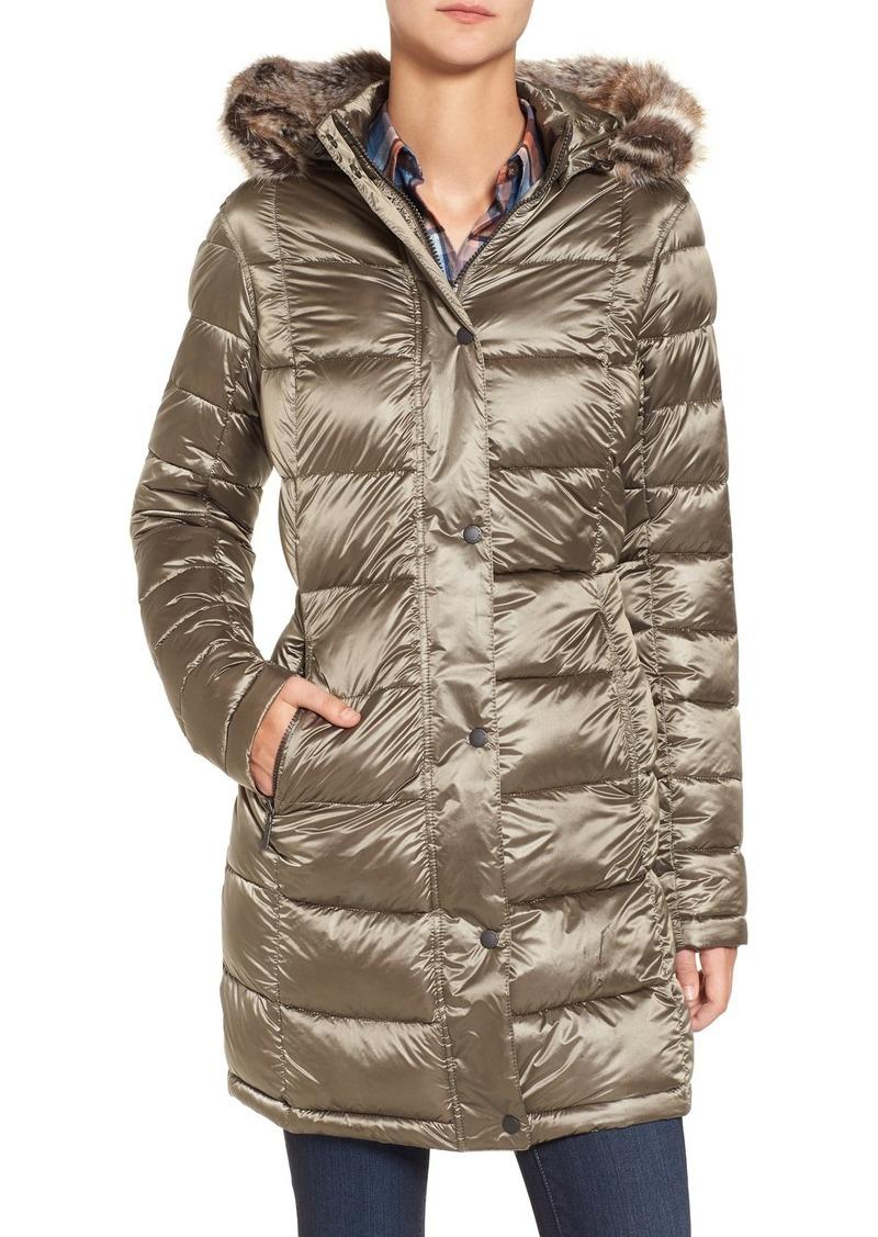 Barbour 'Haven' Faux Fur Trim Hooded Baffle Quilt Coat