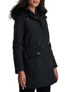 Barbour International Clutch Faux Fur Trim Hooded Fishtail Raincoat