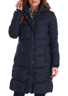 Barbour Lonnen Herringbone Channel Quilted Hooded Coat