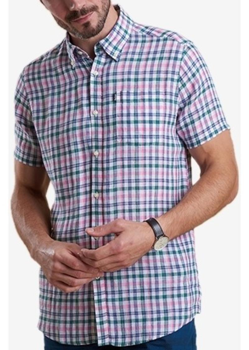 Barbour Men's Leon Tailored-Fit Green Check Linen Shirt