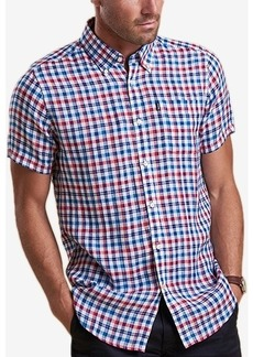 Barbour Men's Leon Tailored-Fit Navy Check Linen Shirt