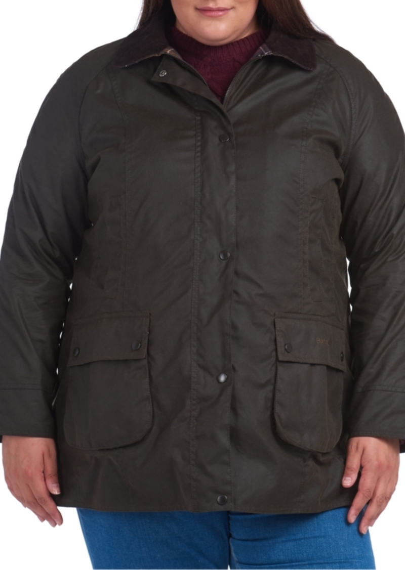 Barbour Plus Size Classic Beadnell Waxed Water-Resistant Cotton Coat