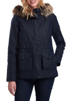 Barbour Scallop Waxed Cotton Hooded Jacket with Faux Fur Trim
