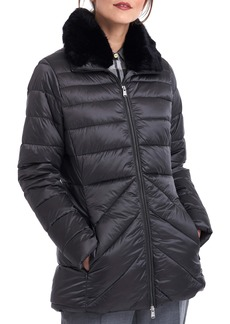 Barbour Shannon Mix Quilted Puffer Coat with Faux Fur Collar