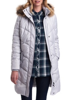 Barbour Sternway Quilted Hooded Parka with Faux Fur Trim