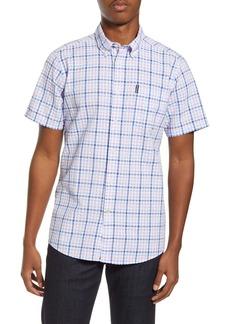 Barbour Tailored Fit Check Short Sleeve Button-Down Seersucker Shirt