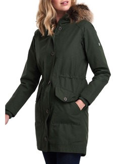 Barbour Tellin Waterproof Hooded Parka with Faux Fur Trim